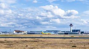 View to cargo area at Frankfurt international airport Stock Photo