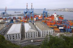 View to the cargo sea port of Valparaiso, Chile. Royalty Free Stock Photography