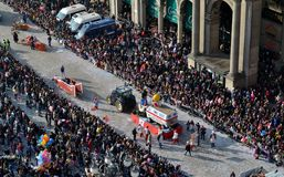 View to Carnival procession in Milan Duomo square. Royalty Free Stock Photography