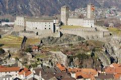 View to the Castelgrande castle in Bellinzona, Switzerland. Stock Images