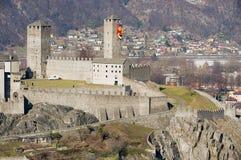 View to the Castelgrande castle in Bellinzona, Switzerland. BELLINZONA, SWITZERLAND - FEBRUARY18, 2012: View to the Castelgrande castle in Bellinzona Royalty Free Stock Photo
