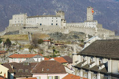 View to the Castelgrande castle and the Collegiate Church in Bellinzona, Switzerland. Royalty Free Stock Images