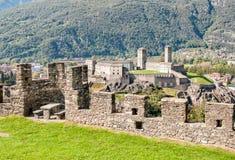 View to the Castelgrande from Montebello Castle. View to the Castelgrande from Montebello Castle, Bellinzona, Switzerland Royalty Free Stock Photography