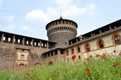 A view to the Castello Sforzesco courtyard in Milan. Stock Photography