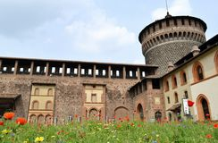 A view to the Castello Sforzesco courtyard in Milan. Stock Images