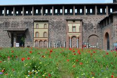 A view to the Castello Sforzesco courtyard in Milan. Stock Photo