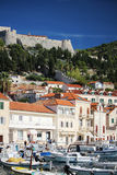 View to the Castle in Hvar from promenade, Croatia Royalty Free Stock Images