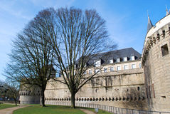 View to castle in Nantes with trees. In winter in France stock photos