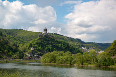 View to the Castle Reichsburg and town of Cochem, Germany. View to the Mosel river and Castle Reichsburg and town of Cochem, Germany Royalty Free Stock Photography