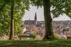 View to the cathedral and over the old town of Regensburg, Germany.  stock photos