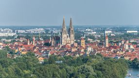 View to the cathedral and over the old town of Regensburg, Germany stock image