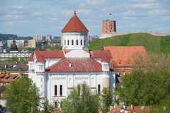 View to the Cathedral of the Theotokos with Gediminas tower and hill at the background in Vilnius, Lithuania. Royalty Free Stock Images