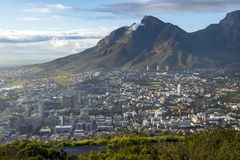 View to the center of Cape Town with mountains stock photo