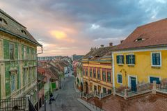 A view to the center part of the Sibiu, in the Transylvania region, Romania.  stock photo