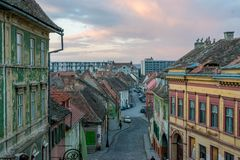 A view to the center part of the Sibiu, in the Transylvania region, Romania.  stock photography