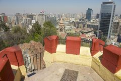 View to the central part of the Santiago city from the Santa Lucia hill fortress in Santiago, Chile. stock photos
