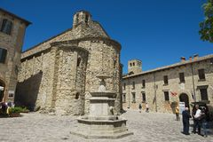 View to the central square of San Leo medieval town in San Leo, Italy. Royalty Free Stock Photo