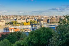 View from Buda to the Pest side of City of Budapest Royalty Free Stock Image