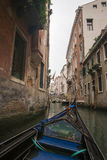 View to channel in Venice from gondola Stock Photos