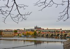 View to Charles Bridge and Prague Castle royalty free stock photography