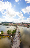 View To Charles Bridge From Top Of Old Bridge Tower In Prague Czech Republic Stock Image
