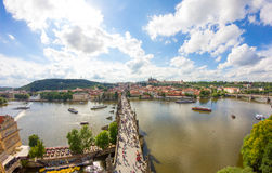 : View To Charles Bridge From Top Of Old Bridge Tower In Prague Czech Republic Royalty Free Stock Photos