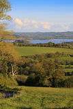 View to Chew Valley Lake - portrait. View to Chew Valley Lake reservoir on a sunny evening - portrait Stock Images
