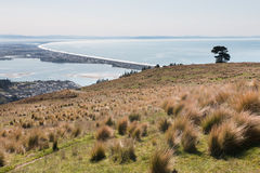 View to Christchurch and Pegasus Bay, New Zealand Royalty Free Stock Image
