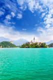 View to Church on island in the middle of Bled lake, Julien Alps Stock Images