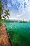 View to Church on island in the middle of Bled lake, Julien Alps, Stock Photo
