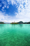 View to Church on island in the middle of Bled lake. Slovenia Stock Photography