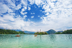 View to Church on island in the middle of Bled lake. Slovenia Royalty Free Stock Photos