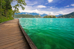 View to Church on island in the middle of Bled lake. Slovenia Royalty Free Stock Image