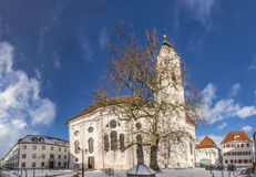 View to church of our landy in small town of Guenzburg in Bavari Royalty Free Stock Photography