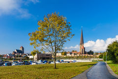 View to a church in Rostock Stock Photo