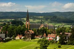 View to the church in small Polish town. Rabka-Zdroj Royalty Free Stock Photography