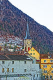 View to Church of St Martin and Alps in Chur Stock Photos