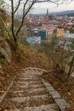 View to the city center and St. Michael& x27;s Church from the Cetatuia Hill in Cluj-Napoca, Romania. Autumn day environment falolozsvar outdoor season stairs royalty free stock photography