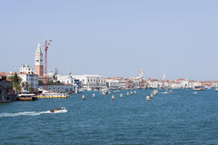 View to the city center and water traffic in summer Venice Stock Images