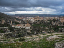 View to city Cuenca and strange rock formations Stock Photos