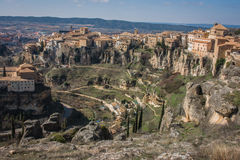 View to city Cuenca and strange rock formations Royalty Free Stock Photo