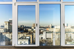 View to the city through new windows Royalty Free Stock Photography