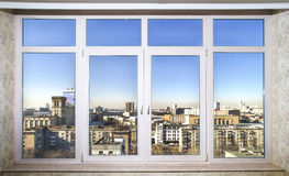 View to the city through new windows Royalty Free Stock Photo