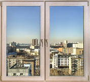 View to the city through new windows Royalty Free Stock Images
