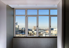 View to the city through new windows Royalty Free Stock Image