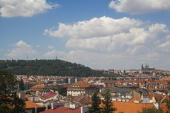 View to a city of Prague stock photo