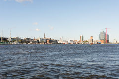 View to the City riverbank from the harbor side Hamburg Royalty Free Stock Image