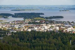 View to the city and surrounding lakes from the Puijo tower in Kuopio, Finland. KUOPIO, FINLAND - SEPTEMBER 05, 2012: View to the city and surrounding lakes Royalty Free Stock Image