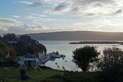 View to the city Tobermory stock image