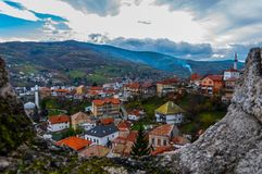 View to the city of Travnik stock images
